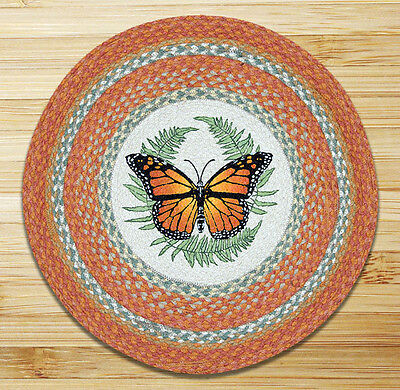 MONARCH BUTTERFLY 100% Natural Braided Jute Rug, 27