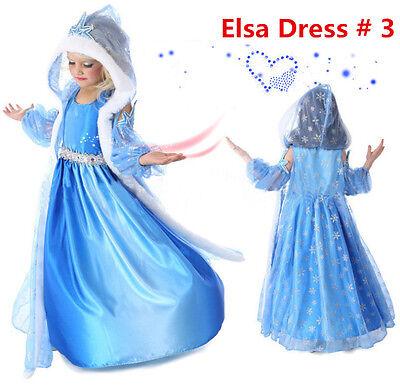 Frozen Princess Elsa Let It Go Costume Dress Cosplay Party Dress Up