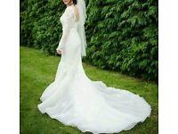 Fishtail long sleeve wedding dress