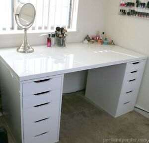 White ikea Alex table and drawers
