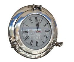 Ship's Porthole Clock Chrome Finish 15 Aluminum Nautical Hanging Wall Decor New