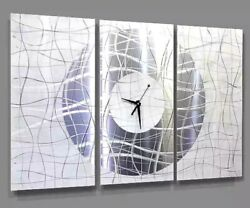 ULTRA MODERN 3 PANEL WHITE SILVER  Metal Wall Art Clock  SIGNED  by Jon Allen