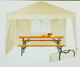 White, Collapsible Gazebo, 3m x 3m with detachable side panels, complete with carrying bag