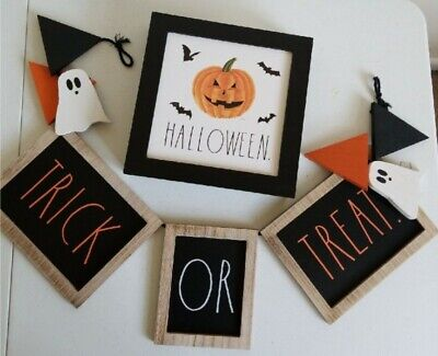Rae Dunn Wooden Halloween Sign and Trick Or Treat Garland