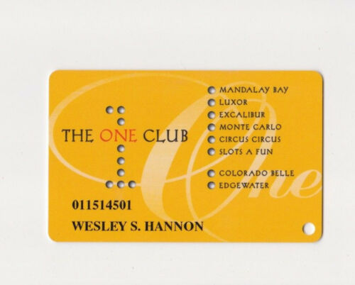 Players Slot Club Rewards Card The One 1 Club Hotels &Various Casinos in Nevada
