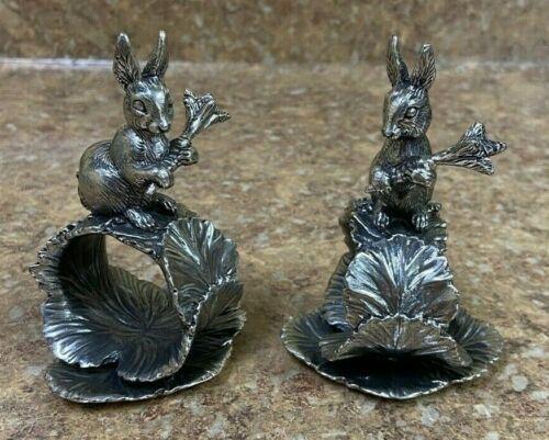 *Reed & Barton 1824 Collection Rabbit Silverplate Napkin Ring Set Free Shipping