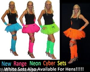 Neon-Cyber-Tutu-Leg-Warmers-Wrist-cuffs-or-Garter-1980s-Fancy-Dress-Hen-Party-UK
