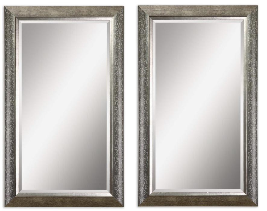 Set 2 Floral Stencil Wall Mirror Silver Leaf 35h Bathroom Pair Large Beveled