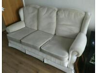 3 seat sofa & 2 chairs, cream, good quality