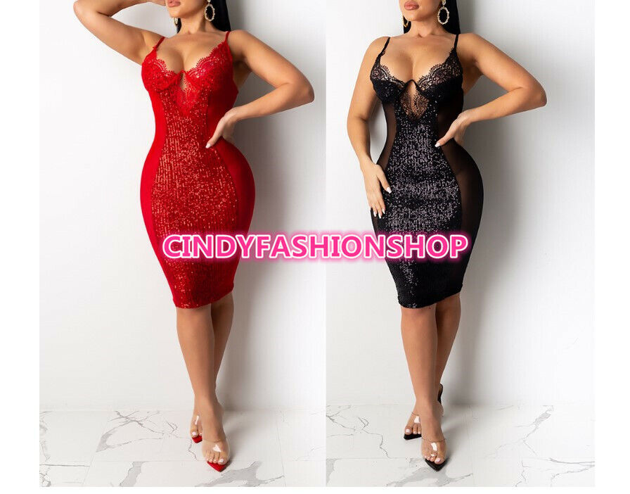 Купить Sexy&Fashion - USA Women Deep V Neck Sexy Night Club Party Mesh Sequined Party Mini  Dress #SB
