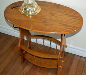 Wooden Oak Finish Reading Lamp End Side Table with Magazine Rack