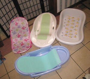 $15 EACH - 3 Baby Bath Tubs and 1 Baby Lounger in excellent cond