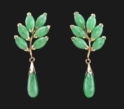 (Pair Vintage 14K Yellow Gold & Natural Jade Stone Leaf Form Dangle Earrings)