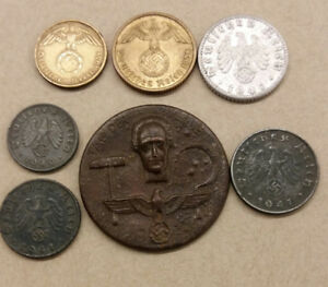 German 6 coins from 1938 - 1941 + Labour Day badge 1934