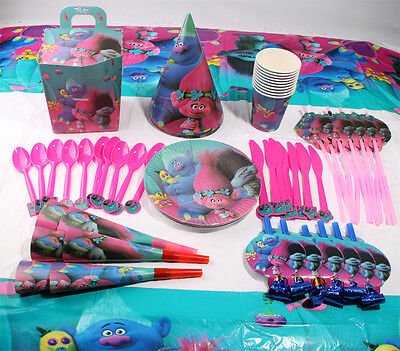 Trolls Poppy Kids Theme Birthday Party Decor Supplies Girls Favor Tableware Set