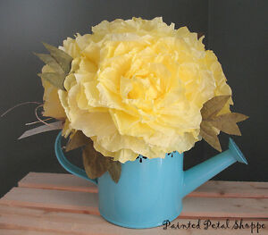 Yellow Coffee Filter Peony in Teal Tin Watering Can/Spring Decor Belleville Belleville Area image 1
