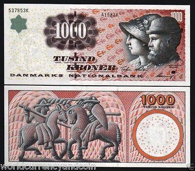 DENMARK 1000 1,000 KRONER P59 1998 HORSE TOURNAMENT CHURCH UNC RARE MONEY NOTE