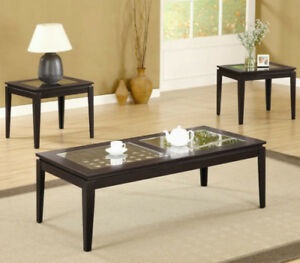 Wood & Glass 3 Piece Cocktail Table Set