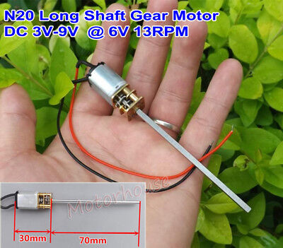 Dc 3v-9v 5v 6v 15rpm Slow Speed 70mm Long Shaft Mini Micro N20 Metal Gear Motor