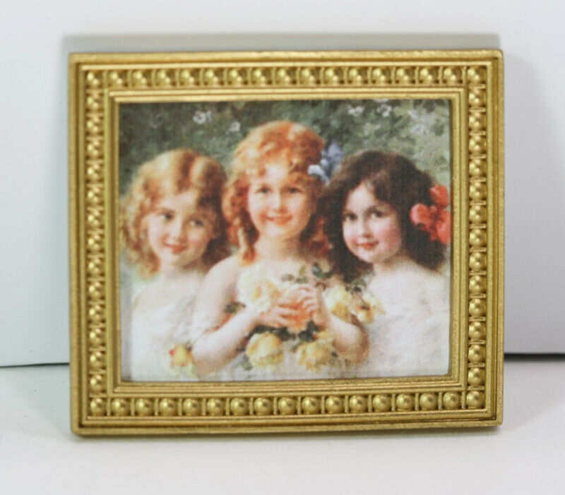 Dollhouse Miniature 1:12 Scale Artwork Portrait of 3 Victorian Girls