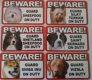 Beware of Dog Sign - Sheepdog to Vizsla