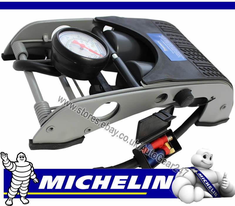 michelin 12202 double barrel piston car van cycle bike tyre inflator foot pump ebay. Black Bedroom Furniture Sets. Home Design Ideas
