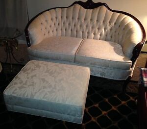 French provincial settee, chair, and ottoman (footstool)