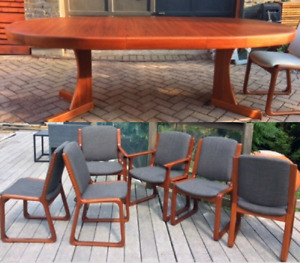 REFINISHED MCM Teak Walnut Rosewood Dining Tables, Chairs, Desk