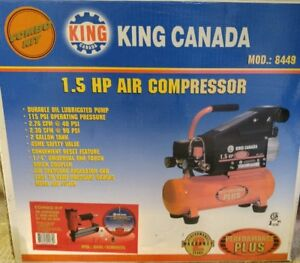 "King 1.5 HP Compressor with 2"" Brad Nailer & 25' Hose. N.I.B."