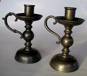 """Pair of Pewter 5 1/2"""" Tall Finger Hold Candle Sticks ~ Holland Peterborough Peterborough Area image 1"""