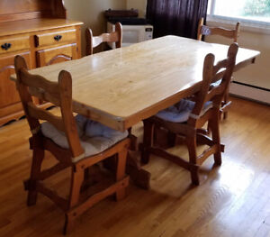 ANTIQUE DINNING TABLE - 60'S - TABLE DINER ANTIQUE 6 CHAIRS/CHAI