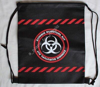 "NEW Black Nonwoven ""Zombie Survival Kit"" Drawstring Backpack Halloween Treat Bag"