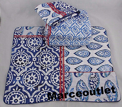 Sky Indigo Patchwork Collection FULL / QUEEN Duvet Cover & Shams Set Blue /White
