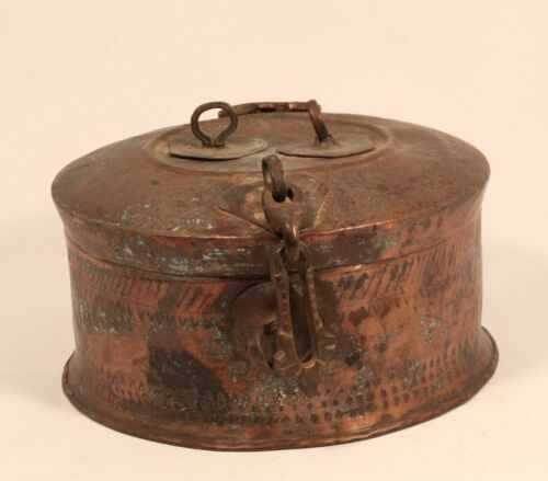 1800's Antique Old Copper Bronze Hand Chased Indian Badmeri Chapati box
