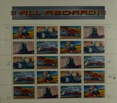 US SCOTT 3333 - 3337 PANE OF 20 ALL ABOARD 33 CENTS FACE MNH