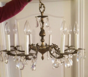 Vintage 8 Light Crystal Chandelier