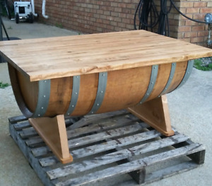 Barrel coffe table with butcher block top