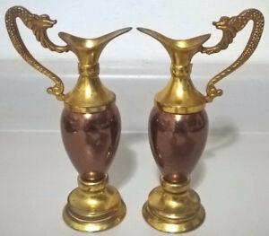 Vintage Brass Ornaments Jug Urn with Copper Color Center