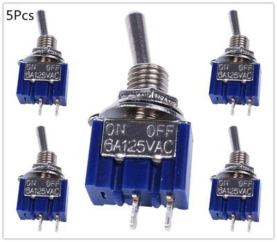 5pcs 2 Pin Spst On-off 2 Position 6a 125v Ac Mini Toggle Switches Mts-101