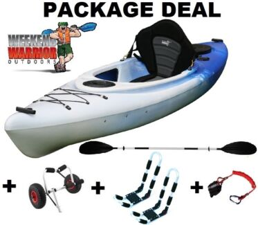 Single Sit in Kayak Canoe Package with J Racks, Trolley +++ Erina Gosford Area Preview