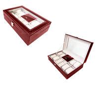 Scatola Box Porta Gioielli Con Vetrina Porta Orologi Portagioie Bordeaux -  - ebay.it