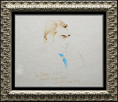 LeRoy Neiman Original Drawing Pastel Color Ink Signed Norton Holmes Boxing Art