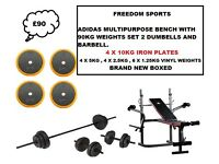 ADIDAS MULTIPURPOSE BENCH 90KG WEIGHTS SET 2 DUMBELLS AND BARBELL BNB £90