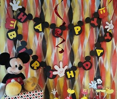 Mickey Mouse Birthday Banner Disney Custom Made in USA -Hanging (Custom Decorations)
