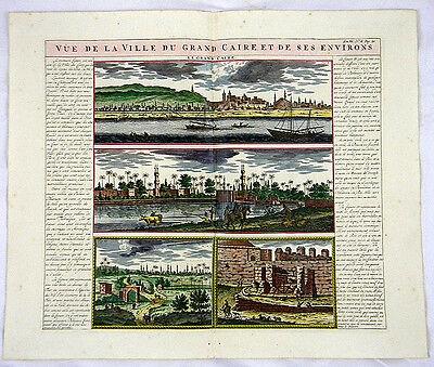 KAIRO ÄGYPTEN AFRIKA KOL GROßER KUPFERSTICH ANSICHT CHATELAIN 1719 AD  #D949S