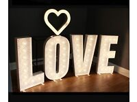 Light up LOVE letters for hire £99, white gloss finish, handmade in the UK