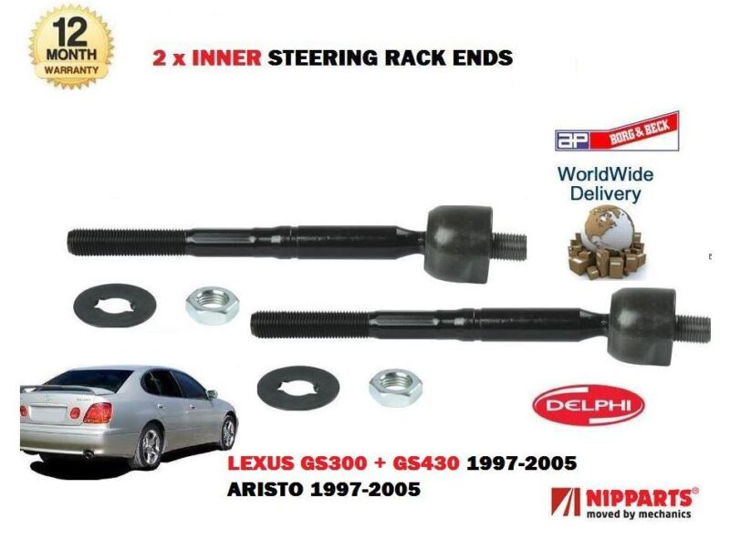 FOR LEXUS GS300 GS430 ARISTO 1997-> 2x INNER STEERING TRACK RACK TIE ROD ENDS
