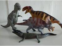Toy Dinosaurs and Crocodile.