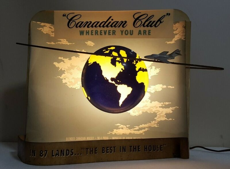 "Vintage Canadian Club Whiskey Light Sign Plane, 1962 ""Wherever you Are"""