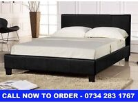 BRAND NEW 4FT6 DOUBLE LEATHER BED + FREE MATTRESS + DELIVERY